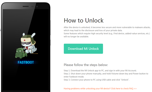 Screenshot of approved xiaomi unlock