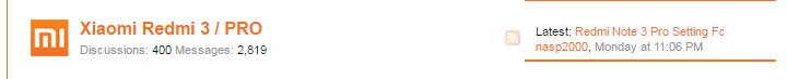 Xiaomi Redmi 3 / PRO topic on Xiami forum screenshot